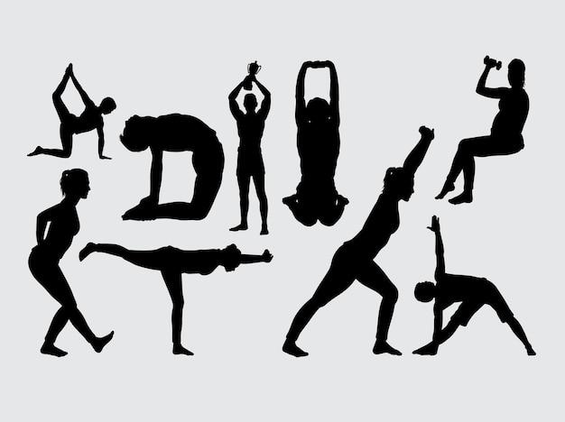 Sport allenamento silhouette maschile e femminile