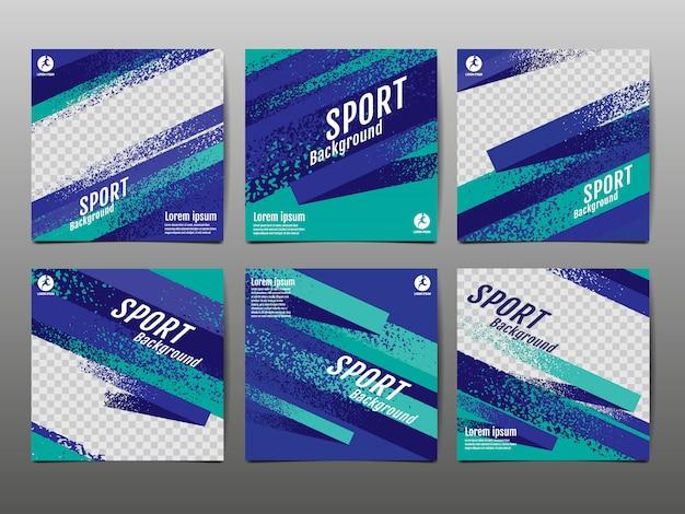 Sport banner social media, dinamica astratta, struttura del grunge.