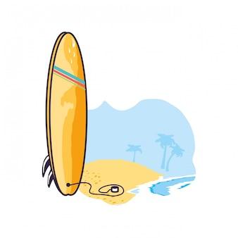 Sport di attrezzatura da surf in spiaggia