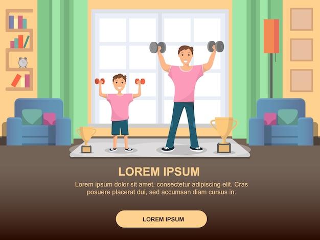Sport domestico di addestramento permanente del padre e del figlio felice