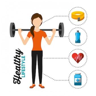 Sport donna allenamento sollevamento pesi stile di vita sano
