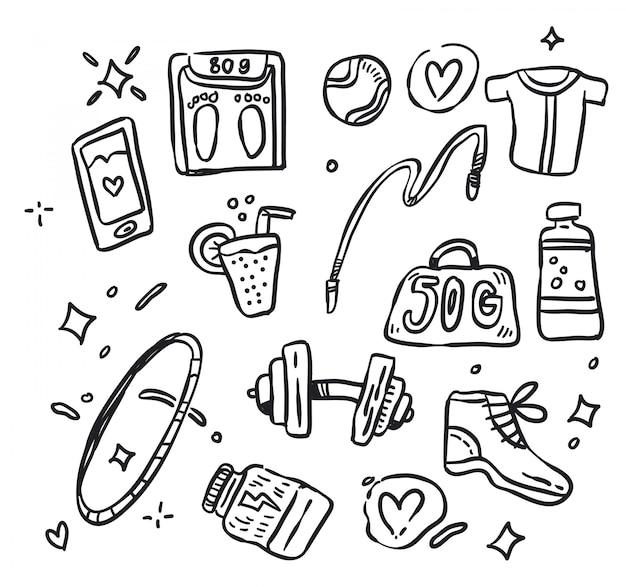 Sport doodle vettoriale. illustrazione vettoriale