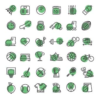 Sport e fitness contorno simboli attrezzature sportive linea sottile icone