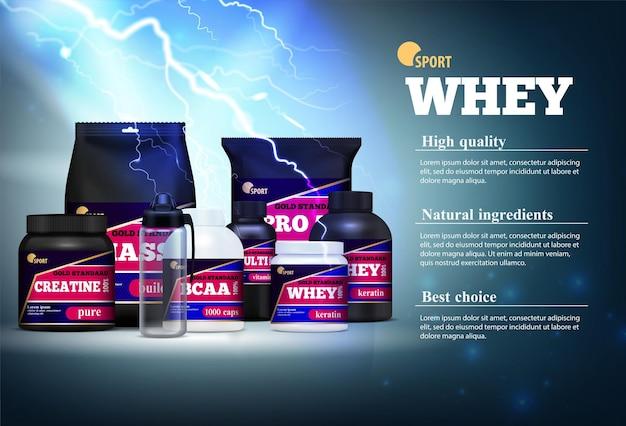 Sport fitness guadagno di massa muscolare ingredienti naturali prodotti proteici realistica composizione pubblicitaria descrizione burrascosa