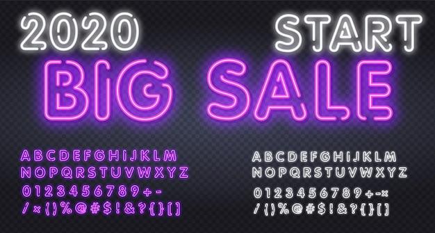 Sport, gioco, carattere alfabeto grande vendita. tipografia moderna con caratteri effetto ombra neon