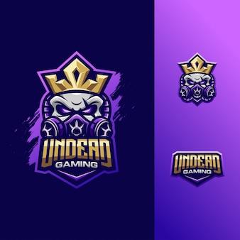 Sport impressionante di logo del re del cranio dell'illustrazione