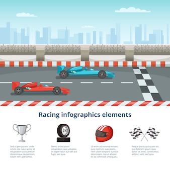 Sport infografica con auto da corsa di formula uno. diverse macchine e strumenti di guida