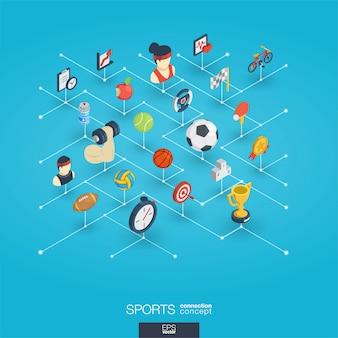 Sport integrato icone web 3d. concetto isometrico della rete digitale.