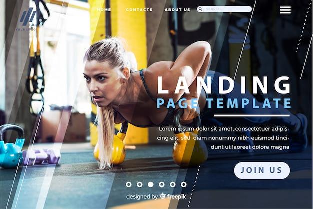 Sport modello di pagina di destinazione con foto