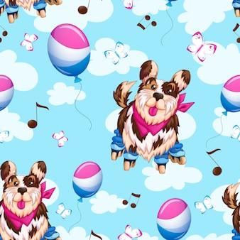 Sport modello divertente cane su pattini a rotelle, palloncini, cielo e nuvole.