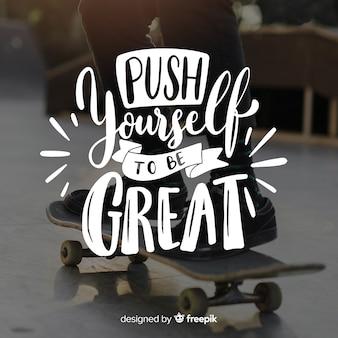 Sport motivazionale lettering sfondo con foto