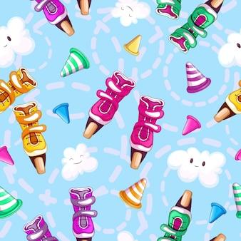 Sport pattern con pattini a rotelle multicolori, nuvole sorridenti