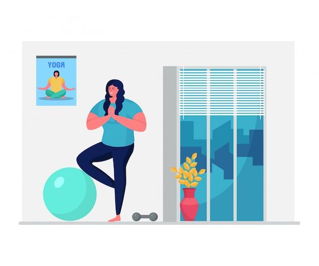 Sport quotidiano domestico di yoga, attività dell'atleta del carattere della donna isolate sull'illustrazione bianca e piana. la femmina fa gli esercizi domestici.