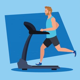 Sport, uomo che corre sul tapis roulant, persona sportiva al design illustrazione macchina di allenamento elettrico