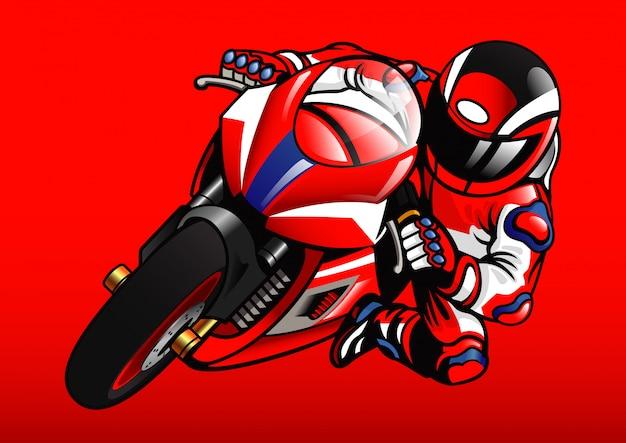 Sportbike racer in azione