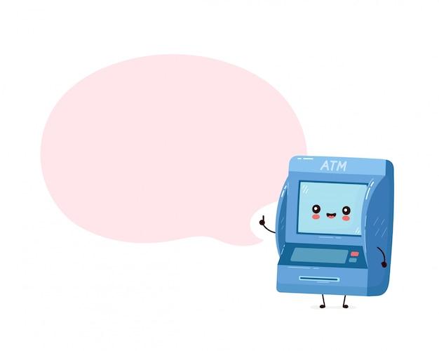 Sportello bancomat felice sorridente sveglio con il fumetto. personaggio dei cartoni animati piatto illustration.isolated su sfondo bianco. bancomat, concetto di personaggio atm