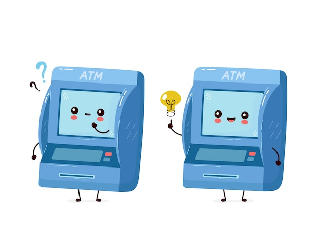 Sportello bancomat felice sorridente sveglio con il punto interrogativo e la lampadina di idea