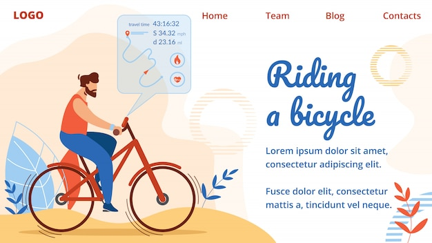 Sportsman riding bicycle con visualizzazione percorso