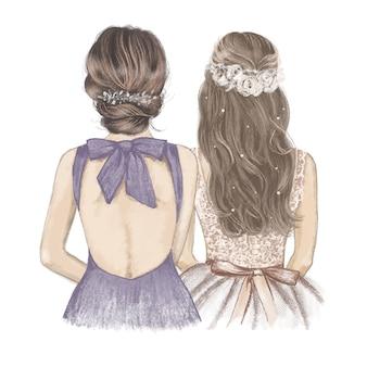 Sposa e damigella d'onore, illustrazione disegnata a mano con matite colorate.