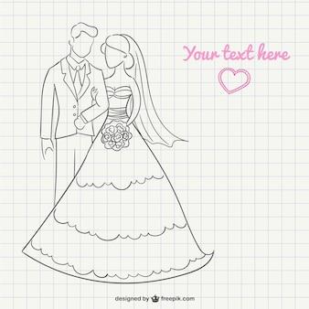 Sposa e sposo scarabocchio