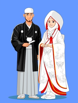 Spose musulmane giapponesi con abiti tradizionali.