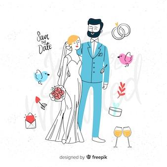 Sposi disegnati a mano con elementi