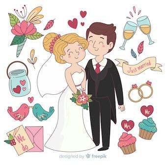 Sposi disegnati a mano con ornamenti