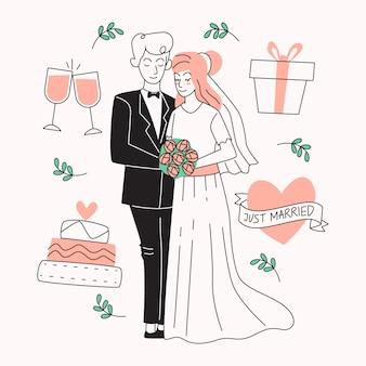 Sposi disegnati a mano