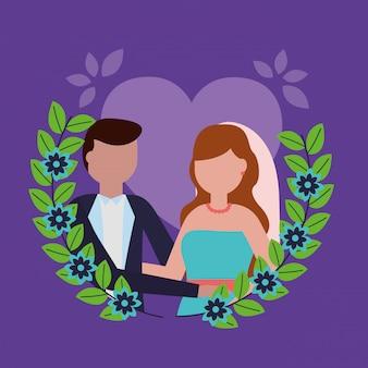 Sposi in stile piatto