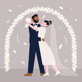 Sposi sposati illustrati