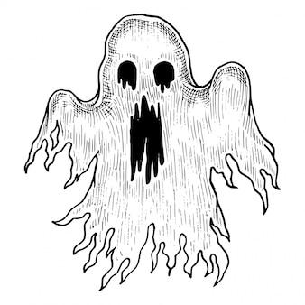 Sppoky ghost appartion, vettore schizzo disegnato a mano
