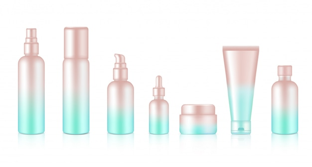 Spray bottle realistico rose gold pastel cosmetic soap, shampoo, cream, oil dropper set per skincare product background illustration. assistenza sanitaria e concetto medico.
