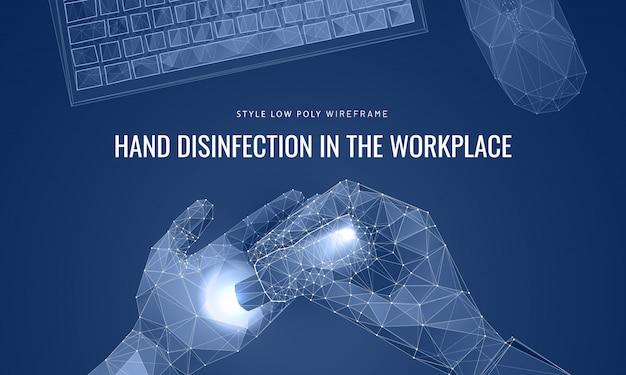Spray disinfettante per le mani. concetto pulito delle mani e del posto di lavoro.