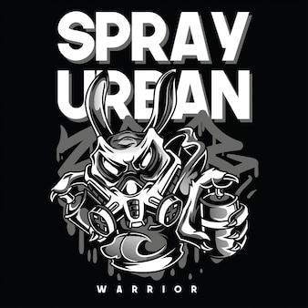 Spray in bianco e nero illustrazione urbana