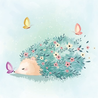 Spring hedgehog and butterflies