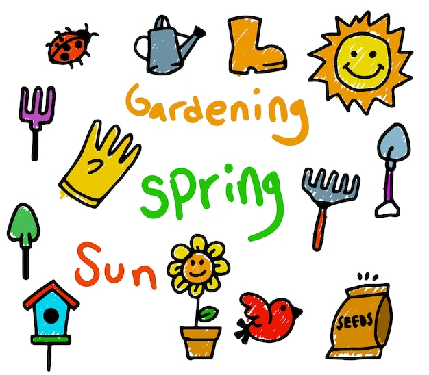 Spring theme kids doodle color
