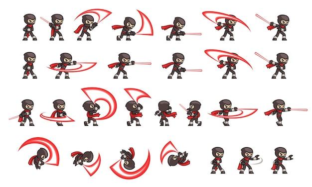 Sprite del gioco di attacco del ninja nero