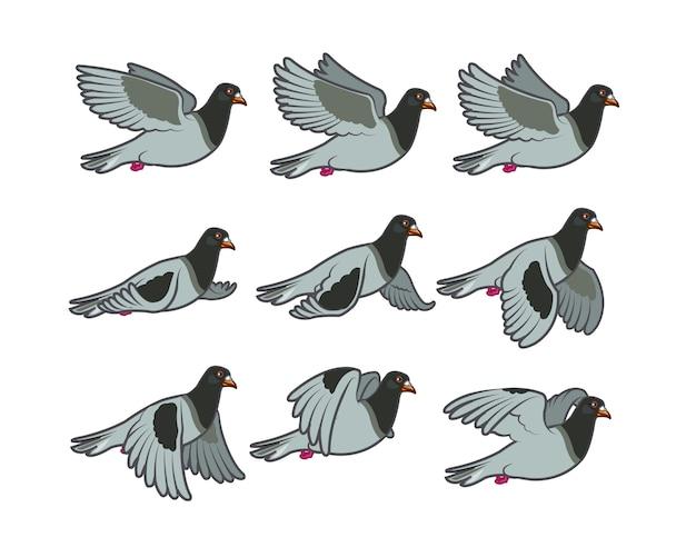 Sprite di animazione del fumetto del piccione volante
