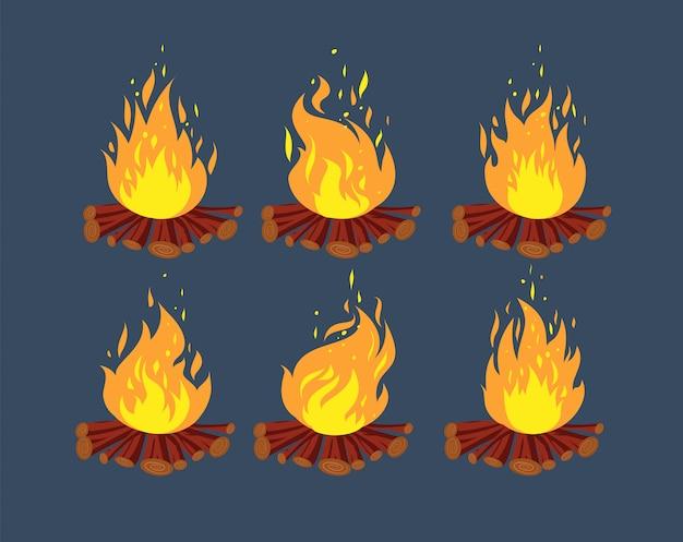 Sprite di animazione del fuoco da campo. set di cornici di animazione del falò del fumetto
