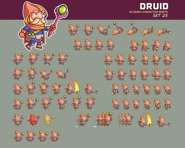 Sprite di animazione del personaggio del gioco dei cartoni animati di old forest druid