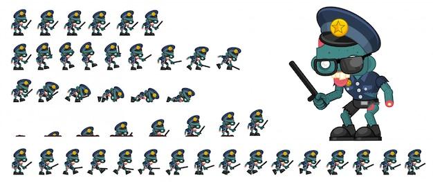 Sprite gioco di polizia di zombie