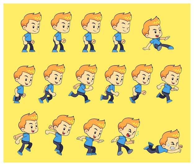 Sprites di gioco blue shirt boy