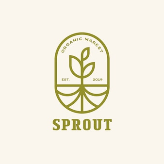 Sprout with roots modern line, emblem logo vettoriale