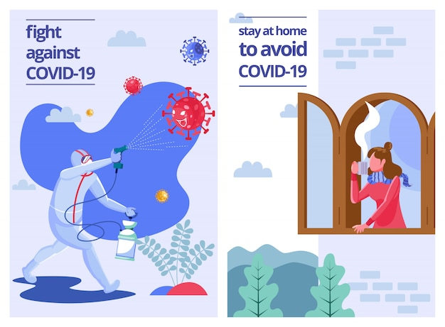 Spruzzare disinfettante e rimanere a casa per evitare covid-19 - illustrazione piatta