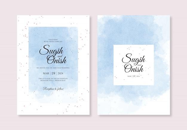 Spruzzare la pittura a mano ad acquerello per modello di carta di invito matrimonio dolce