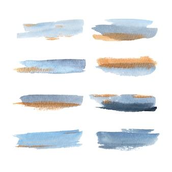 Spruzzata dell'acquerello con l'illustrazione gialla e blu mista per uso decorativo.