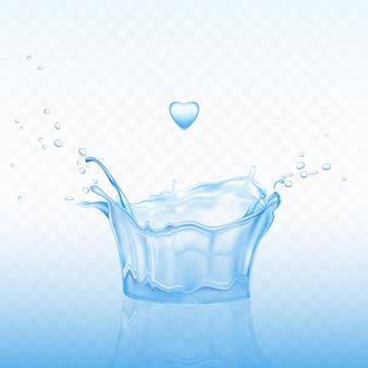 Spruzzata di acqua a forma di corona con gocce di spray e goccia di cuore su sfondo blu trasparente.