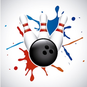 Spruzzata di bowling sopra illustrazione vettoriale sfondo grigio