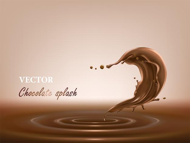Spruzzata di cioccolato fuso e liquido in uno stile realistico