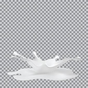 Spruzzata di latte su sfondo trasparente